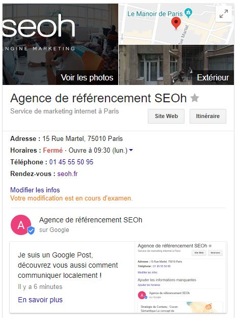 Google business et google post